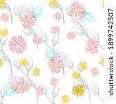 pink flowers blooming pattern.... | Shutterstock .eps vector #1899742507