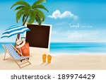 beach with a palm tree  a... | Shutterstock .eps vector #189974429
