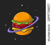 burger planet cartoon vector... | Shutterstock .eps vector #1899758857