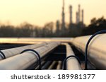 steel pipes in crude oil factory | Shutterstock . vector #189981377