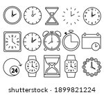 time icons set. clock pictogram....