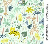 seamless jungle pattern with... | Shutterstock .eps vector #1899822517