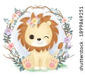 adorable baby lion in the...   Shutterstock .eps vector #1899869251