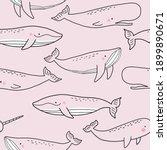 cute wild whale   vector... | Shutterstock .eps vector #1899890671