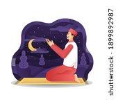 arabic man praying at night in... | Shutterstock .eps vector #1899892987