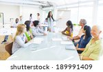 young business woman presenting  | Shutterstock . vector #189991409