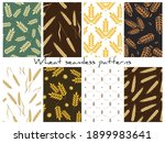 set of vector wheat seamless... | Shutterstock .eps vector #1899983641