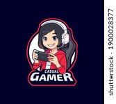 cute gamer girl playing mobile... | Shutterstock .eps vector #1900028377
