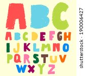 hand drawn colorful font doodle ... | Shutterstock .eps vector #190006427