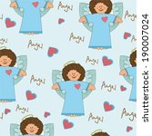 pattern with an angel on a blue ... | Shutterstock .eps vector #190007024