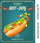 hot dog. poster in american... | Shutterstock .eps vector #190012679