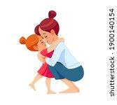cute little girl greeting her... | Shutterstock .eps vector #1900140154