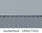 Section Of Metal Grid Fence On...
