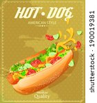 hot dog. fast food. poster in... | Shutterstock .eps vector #190019381