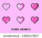 set of pixel art heart icons... | Shutterstock .eps vector #1900217857