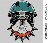 dog head logo with crack helmet ... | Shutterstock .eps vector #1900292377