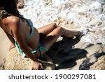 Pregnant Woman On The Beach. ...