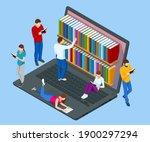 isometric online library app... | Shutterstock .eps vector #1900297294