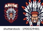 angry apache chief head sports... | Shutterstock .eps vector #1900329481