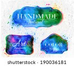 set watercolor labels design... | Shutterstock .eps vector #190036181