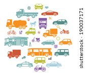 Round Card with Retro Flat Cars and Vehicles Silhouette Icons Transport Symbols Isolated Set Vector Illustration - stock vector