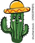 cactus with a head ... | Shutterstock .eps vector #1900399891
