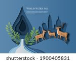 world water day  save water  a... | Shutterstock .eps vector #1900405831