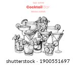 alcoholic cocktails hand drawn... | Shutterstock .eps vector #1900551697
