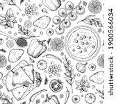 hummus cooking and ingredients... | Shutterstock .eps vector #1900566034