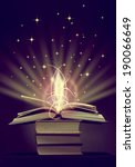 opened magic book with magic... | Shutterstock . vector #190066649