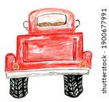 Retro Red Pickup Truck Hand...