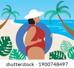 woman with lifebuoy  tropical... | Shutterstock .eps vector #1900748497