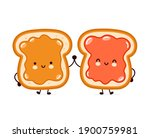 cute funny bread toast with...   Shutterstock .eps vector #1900759981