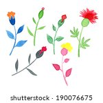 set of multicolored watercolor... | Shutterstock . vector #190076675