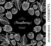 raspberry frame  hand drawn... | Shutterstock .eps vector #1900808791