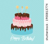 cute happy birthday background  ... | Shutterstock .eps vector #1900813774