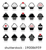 cupcake with heart  cherry and... | Shutterstock .eps vector #190086959