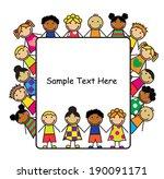cartoon children of different... | Shutterstock . vector #190091171