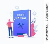 user manual book vector concept....