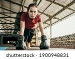 Woman Boxer Wearing Black Glove ...