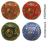 a group of four ornaments on a... | Shutterstock . vector #190099664