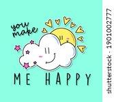 you make me happy typography ...   Shutterstock .eps vector #1901002777