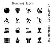 bowling icons set vector... | Shutterstock .eps vector #1901039437