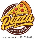 Pizza Daily Fresh Vector Emblem ...