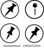 pin icon set in trendy flat...