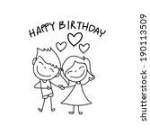 hand drawing cartoon happy... | Shutterstock .eps vector #190113509