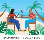 man and woman  romantic dinner. ... | Shutterstock .eps vector #1901141197