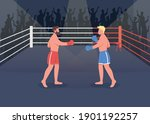boxing event flat color vector... | Shutterstock .eps vector #1901192257
