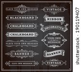 Stock vector vintage design elements banners frames and ribbons chalkboard style vector 190119407
