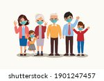 family people wearing... | Shutterstock .eps vector #1901247457